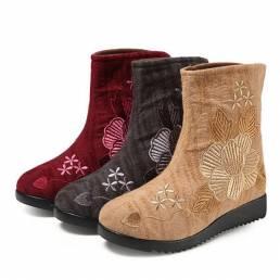 Forro de piel bordada de piel de algodón tobillo Botas para Mujer