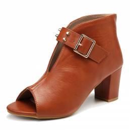 LOSTISY Mujer Zapatos de tacón grueso con remaches y hebilla con punta abierta