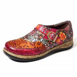 SOCOFY Flores de costura hechas a mano Patrón Zapatos planos de cuero