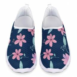 Zapatos para caminar con estampado transpirable de malla floral de gran tamaño informal para mujer