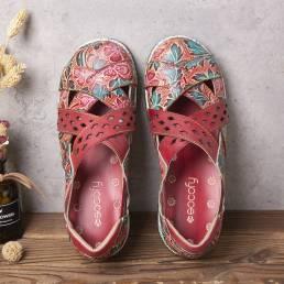 SOCOFY vendimia Recortes florales en relieve de cuero hecho a mano Correa cruzada Slip on Zapatos planos