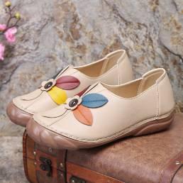 Mujeres Retro Flor Costura Cómodo Punta Redonda Resbalón En Mocasines Planos Zapatos