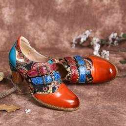 SOCOFY Retro Piel Genuina Folkways Gancho Zapatos de tacón grueso con correa de hebilla y lazo