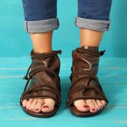TamañograndevendimiaOpenToeCasual Zipper Flat Sandalias