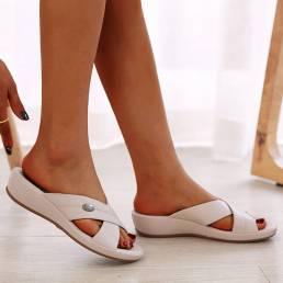 Mujer Playa Comfy Peep Toe Cross Strap Cuñas Tacón Sandalias