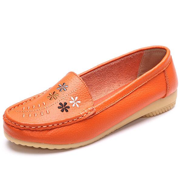 Bordado de flores resbalón casual en zapatos planos