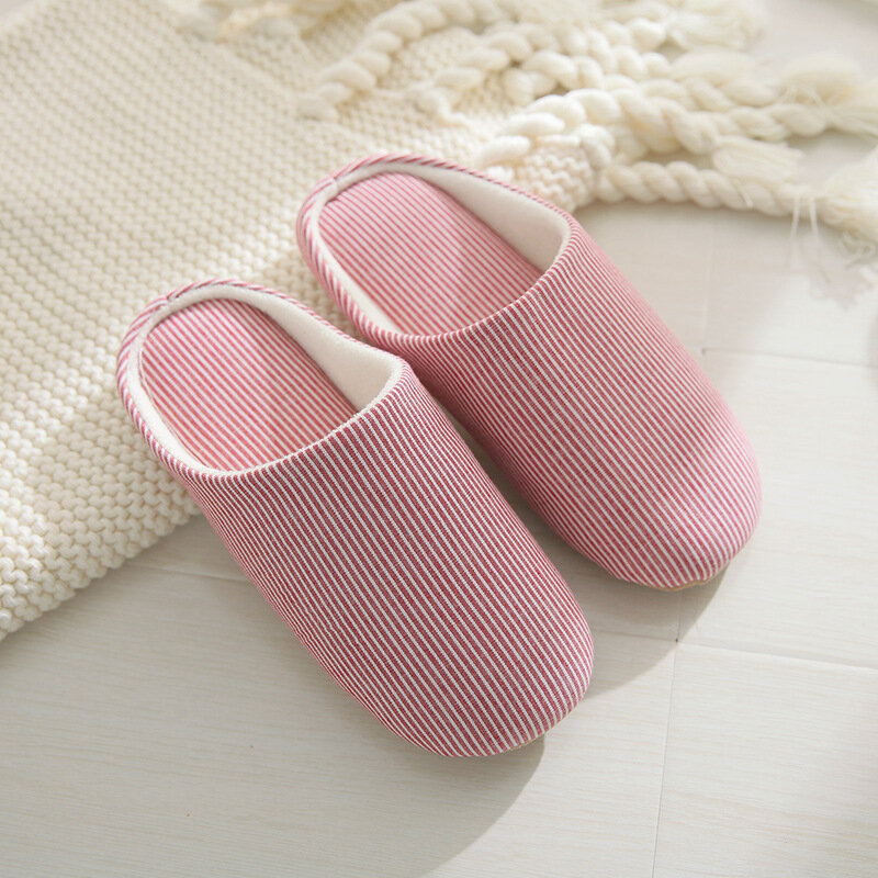 Zapatillas de casa cómodas a rayas para mujer zapatillas