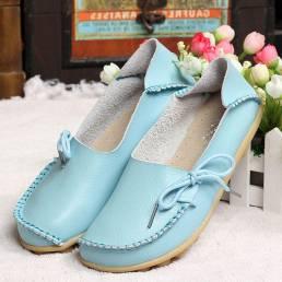 Tamaño de EE. UU. 5-13 Nuevo Mujer Soft Mocasines planos cómodos con cordones Zapatos planos de cuero informales transpi