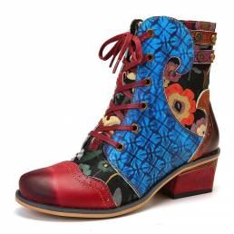 SOCOFY Mujer Relieve Patrón Costuras Piel Genuina Tobillo cómodo Botas