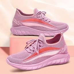 Zapatillas de deporte casuales antideslizantes transpirables con detalle de rayas tejidas para mujer