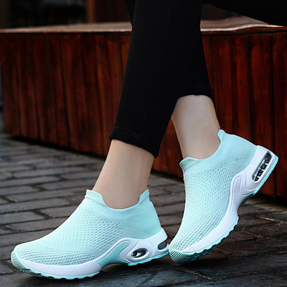 Zapatillas de deporte sin cordones para caminar con malla ligera para mujer