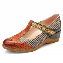 SOCOFY Retro Stripes Stitching Gancho Loop Piel Genuina Zapatos de salón