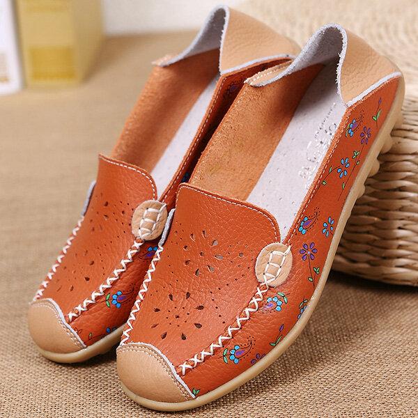 Zapatos de ocio para mujer Planos ahuecados transpirables Soft Mocasines con suela Mocasines con estampado de flores