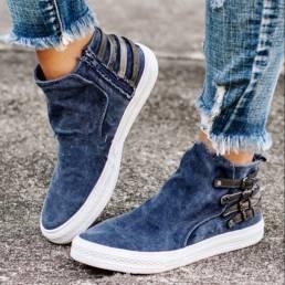 Mujer Zapatos de lona planos con hebilla informal de gran tamaño