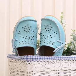 SOCOFY Talla grande Mujer Mocasines informales con cordones Zapatos cómodos huecos florales transpirables
