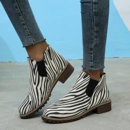 Mujer Ante Zebra Patrón Deslizamiento en el tobillo de tacón bajo Botas