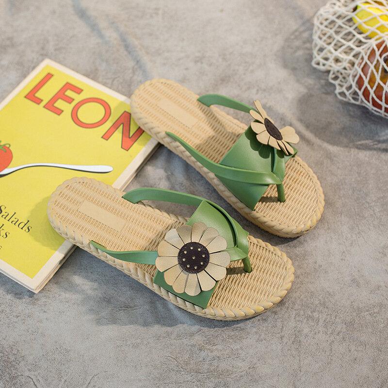 Mujeres Clip Toe Sunflower Playa Masaje Soles Slide Sandalias