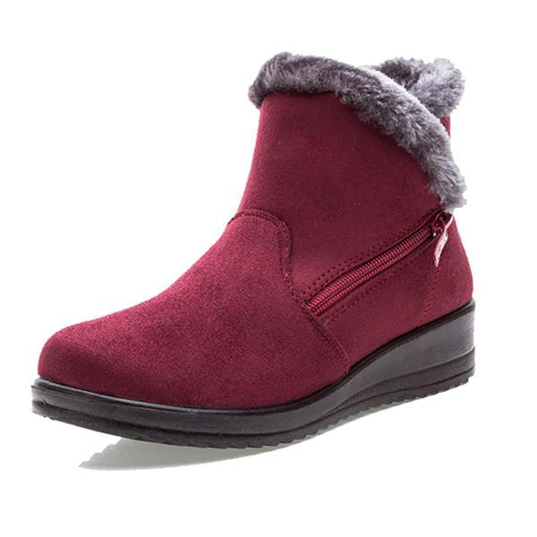 Nuevo Tamaño Grande de invierno para Mujer Botas de Nieve de Dedo Redondo Cortas