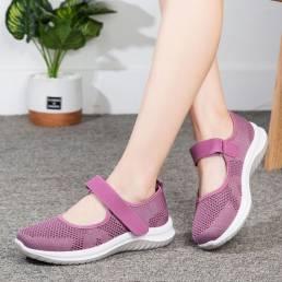Malla transpirable para mujer Gancho Zapatos casuales ligeros con lazo