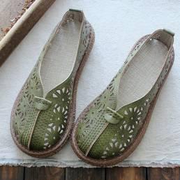 Mujeres retro ahueca hacia fuera los mocasines casuales cómodos del dedo del pie redondo