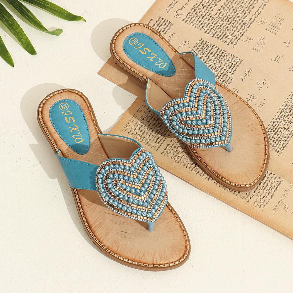 Rhinestone de las mujeres Corazón Forma Decoración Clip Toe Flats Sandalias