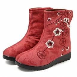 Zapatos de tobillo bordados con forro superior de piel Botas para Mujer