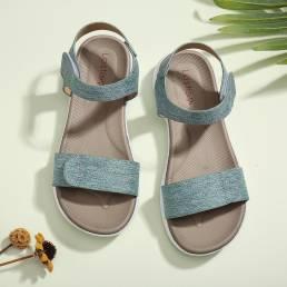 LOSTISY - Sandalias planas informales de verano cómodas con suela suave con punta abierta y gancho para mujer