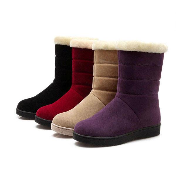 Planos de piel de algodón algodón tobillo nieve Botas para Mujer