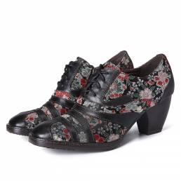 SOCOFY Retro Costura Bordado Flor Piel Genuina Cremallera Zapatos de tacón bajo