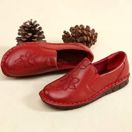 SOCOFY Folkways Embroidered Floral Cowhide Soft Zapatos planos de cuero sin cordones con suela
