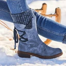 Mujer Plus Talla Comfy Stitching Casual Media pantorrilla Botas Snow Botas
