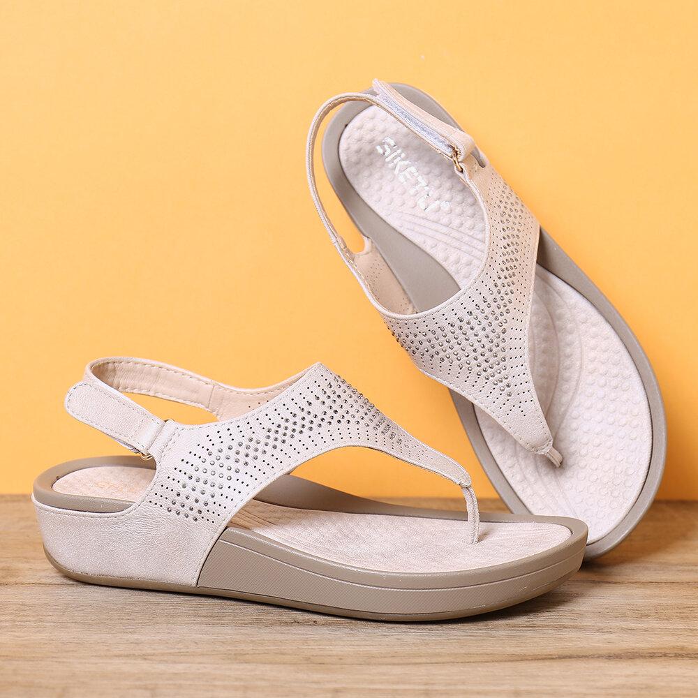 Mujer Soft Diamante de imitación con pinza en la suela Gancho Lazo Casual Verano Playa Cuña Sandalias