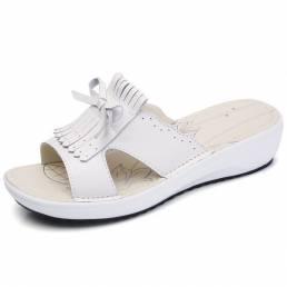 Zapatos planos con borlas de cuero sin cordones para mujer Sandalias