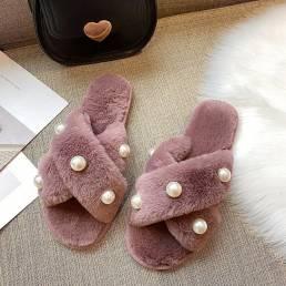Felpa de invierno informal con forro cálido con incrustaciones de perlas para mujer zapatillas
