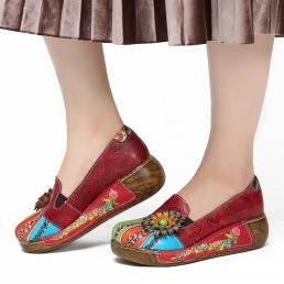 SOCOFY Retro Floral en relieve Piel Genuina Zapatos de plataforma sin cordones casuales