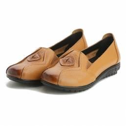 Zapatos ocasionales respirables Mujer Slip On Mocasines de cuero