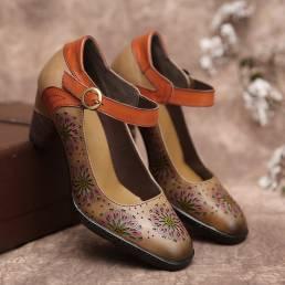 SOCOFY Zapatos de tacón grueso con correa en el tobillo con hebilla hueca floral de cuero Vestido Zapatos