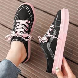 Zapatillas de deporte con punta redonda y cordones sólidos informales para mujer