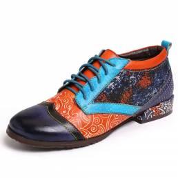 SOCOFY Bohemian Patrón Colorblock Piel Genuina Zapatos planos cómodos con costura