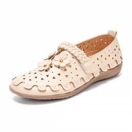 LOSTISY Zapatos planos cómodos tejidos transpirables de cuero retro con flores