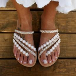 Sandalias planas de verano con cuentas de Bohemia para mujer