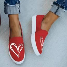 Zapatos de lona planos antideslizantes en forma de corazón de color sólido dulce para mujer