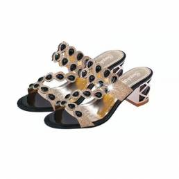 Mujeres Plataforma Casual Sandalias Rhinestone Slip On Shoes Playa Sandalias