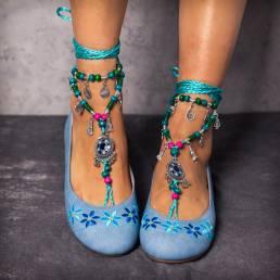 DESLIZAMIENTO Bohemia cómoda bordado floral slip on zapatos planos
