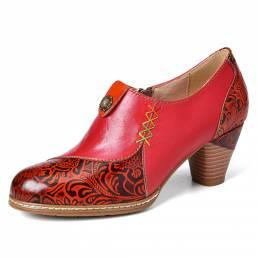 SOCOFY Zapatos de tacón medio con cremallera en relieve de flores con cuentas de cuero retro