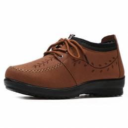 Zapatos de algodón con cordones y forro de piel sintética