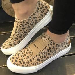 Woemn Leopard Printing Elastic Banda Zapatos planos de lona casual