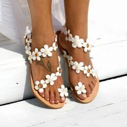 Mujer Bohemia Flower Decro cuenta Toe Ring Casual Verano Playa Flat Sandalias