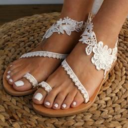 Mujeres Bohemia Toe Slip Ring en Casual Summer Flat Sandalias