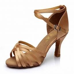 Zapatos de baile de tacón de moda de color sólido para mujer Vestido Sandalias